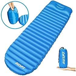 OUSPT Unisex Adult Ultraleichte Aufblasbare Kopfkissen, Luftmatratze Isomatte Wasserabweisend und Rutschfest Schlafmatte,8cm Dicke Tragbare Sleeping Pad für Camping, Outdoor, Wandern (Blau), 1
