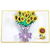 Biglietto d'Auguri, ZWOOS Pop up Carta 3D Biglietto d'Auguri Matrimonio Carta Matrimonio Anniversario La Festa Della Mamma San Valentino Nozze Carta - Girasole