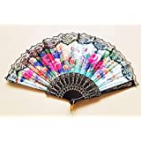 Northeast HANDICRAFTS Portable Fancy Folding Colour Gradient Chinese Style Handheld Vintage Fan for Travelling in Summer (Black)