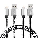 [Pack de 2, 2m] Câble iPhone Lightning vers USB en PU Chargeur très Robuste avec connecteur en aluminium pour Apple iPhone 7/7 Plus/SE/6/6 Plus/6s/6s Plus/5/5s/5c, iPad Pro/Air/Mini, iPod Touch/Nano (Noir et Blanc ) SURWELL