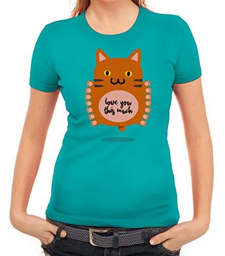Geschenkidee Damen T-Shirt mit Love You This Much Motiv von ShirtStreet karibikblau