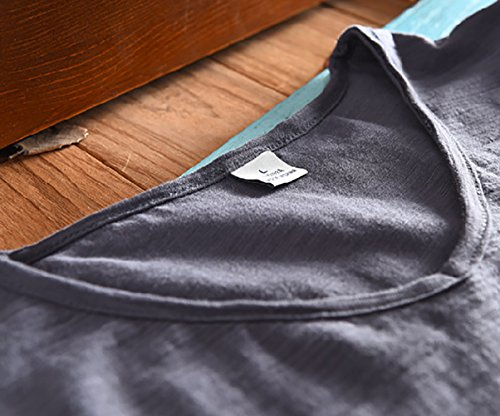 Insun Herren Tiefer V-Ausschnitt T-Shirt Kurzarm Sommer Freizeit Lässig Shirt Einfarbig Dunkelgrau