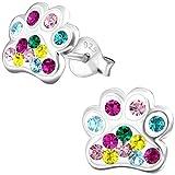 JAYARE Kinder Ohrstecker Hunde-Tatze Pfote 925 Sterling Silber Glitzer Kristalle 9 mm mehrfarbig-bunt Mädchen-Ohrringe im Geschenketui