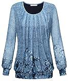 BAISHENGGT Damen Langarmshirt Rundhals Falten Shirt Stretch Tunika Hell-Blau XL
