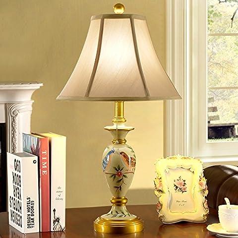 Creative in stile Europeo lampada lampada al posto letto di resina decorative dipinte a mano interruttore doppio Matrimonio soggiorno lampada, L550 * H662 (mm)