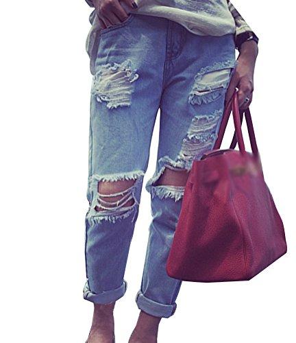 Guiran donna pantaloni larghi denim jeans sigaretta pantalonia vita alta baggy jeans strappati s come immagine