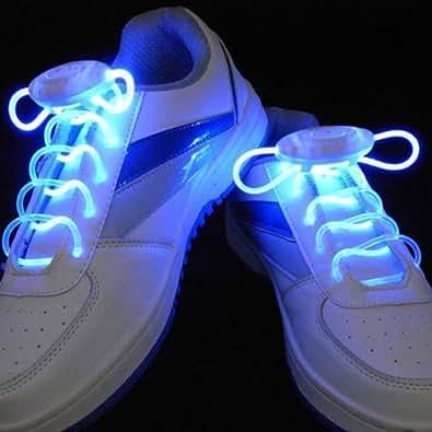 aire de Lacets Lumineux Clignotants et Equipés de LED de Couleur Bleu