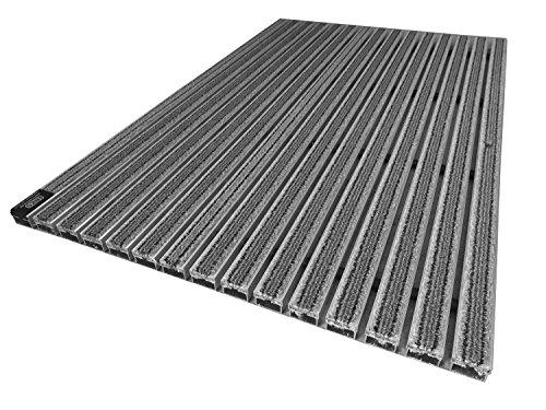 Emco Eingangsmatte Diplomat Textilbürste 22mm grau Fußabstreifer ALU Fußmatte Türmatte, Größe:590 x 390 mm