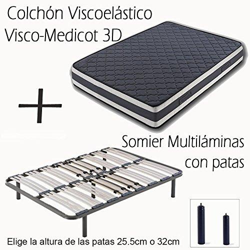 HOGAR24 ES Somier Multiláminas con Regulación Lumbar + Colchón Viscoelástico Doble Cara...