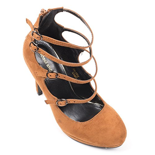 Ideal Shoes Escarpins Effet Daim et multibrides Claudia Camel