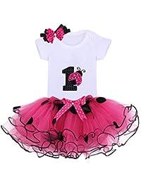 3PCs Bambina Prima Compleanno Onesie Tutu Vestito Fascia Set Pagliaccetto+ tutù+Cerchietto Abbigliamento Abito 3da2d509aea
