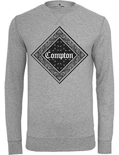 Mister Tee Felpa da uomo Compton Bandana girocollo, Uomo, Pullover Compton Bandana Crewneck, grigio, M
