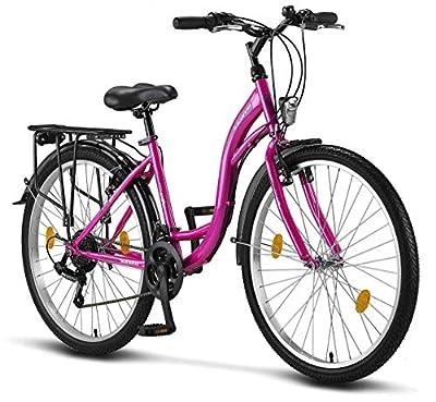 Stella Damenfahrrad, 24 Zoll 26 Zoll 28 Zoll, Fahrrad-Licht, Shimano 21 Gang-Schaltung, Mädchen-Damen-Citybike, Damen-Mädchen-Kinder-Fahrrad, Florenz, Amsterdam, Hollandrad, Retro-Design, Kinderfahrrad