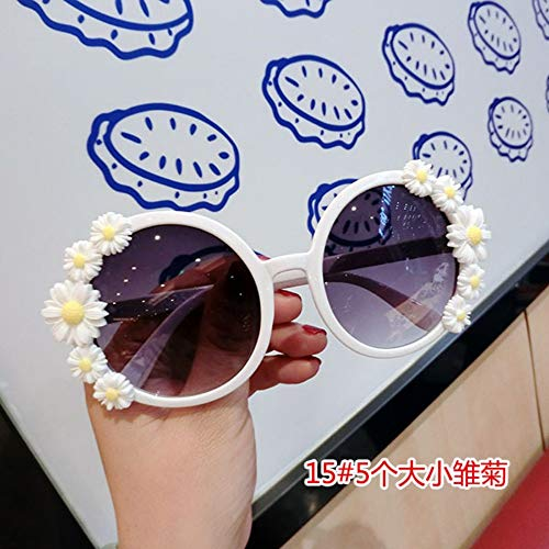 MOJINGYAN Sonnenbrillen,Sommer Sonnenbrille Frauen Süße Blume Mit Strass Runde Sonnenbrille Vintage Retro Gläser Für Beach Damen Farbtöne Weiß