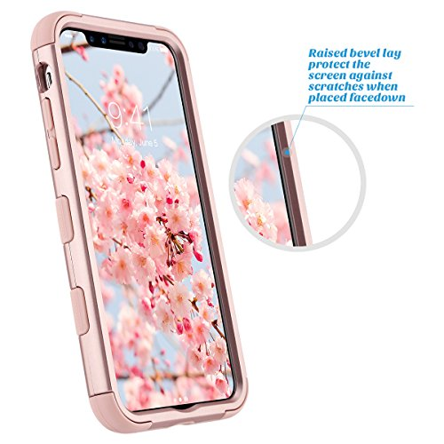 Cover iPhone X, ULAK iPhone X Custodia ibrida a 3 strati in silicone a prova di collisione case cover per Apple iPhone X (5.8 pollici) 2017 - Marmo Oro Rosa