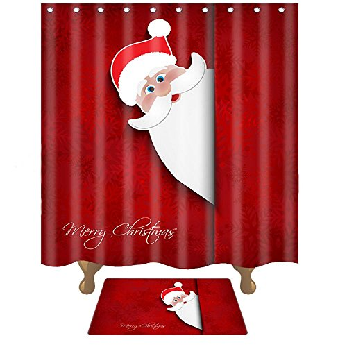 ahr Bad Duschvorhang dicke wasserdichte Polyester gedruckt 3D Mehltau , probe santa claus shower curtain , wide 150cm* high 180cm shower curtain (Plastik Im Freien Weihnachten Dekorationen)