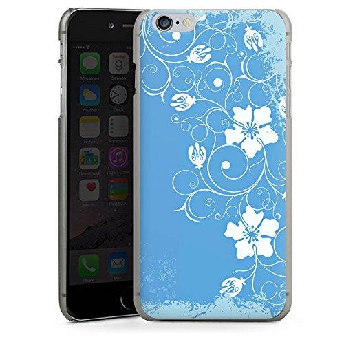 Apple iPhone X Silikon Hülle Case Schutzhülle Muster Blume Blau Hard Case anthrazit-klar