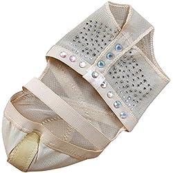 BELLYQUEEN Zapatos Danza del Vientre Calcetines Antideslizantes para Yoga Ballet Baile Descalzo con Adorno Diamante - Beige L 38-39