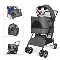 besrey Pet Stroller, 4 in 1 Multi-functional Pram Buggy Pushchair for Dog Cat with 4 Wheels Easy Wash Away with Carry Cage, Pet Car Seat, Applicable for Medium and Small Pet, Black