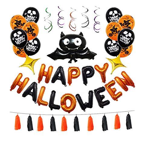 Siumir Halloween Party Luftballons Dekoration Fledermaus Folienballons Kürbis Latex Ballon Happy Halloween Banner Quasten Wirbel(eine Packung mit 45)