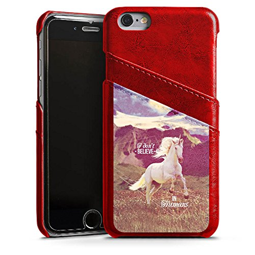 Apple iPhone SE Lederhülle Leder Case Leder Handyhülle Einhorn Unicorn Sprüche Leder Case Rubinrot