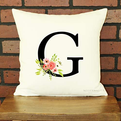 Funda de almohada personalizada, funda de almohada floral, funda de almohada con inicial, funda de almohada...