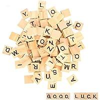 100 piezas Letras de madera, alfabeto madera A a Z para Manualidades DIY Decoración, educación infantil