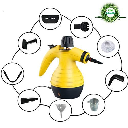 Dampfreiniger Leistungsstarker und vielseitiger tragbarer zum Entfernen von Flecken in Autopolstern, Haushaltsgeräten, Küchen, Teppichen, Kristallen, Sofas | Verdampfer mit 9 Zubehörteilen