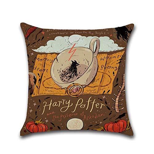 Y-F - Funda de cojín de Lino y algodón para sofá, diseño de Harry Potter, 6, 450mm*450mm