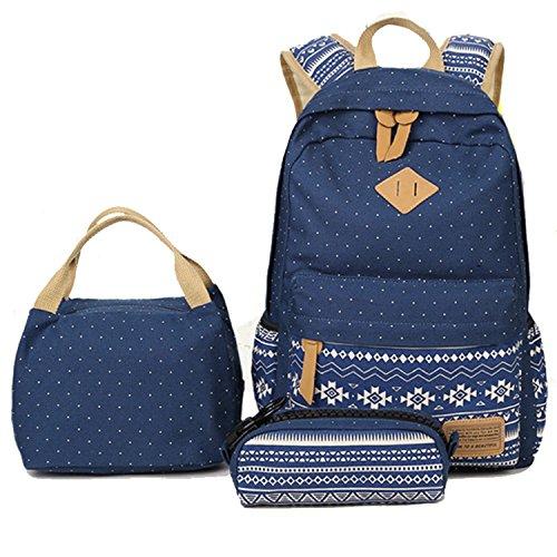 School Bag Set Canvas Backpack Handbag Lunch Shoulder Bags Pencil Cases Casual Daypack 3PCS Backpacks Rucksacks School Bags For Girls Womens Backpack For Teen Vintage Rucksack -