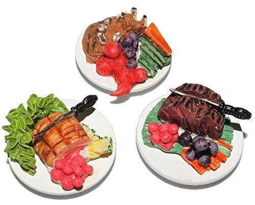 3 tlg. Set: Hauptspeise Teller mit Fleisch Gericht u. Gemüse - Miniatur aus Holz / Maßstab 1:12 - Lebensmittel Zubehör Küche Puppenstube / Puppenhaus - Essen Abendessen - Mittagessen - Diorama / Puppenstubenzubehör