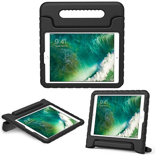 MoKo Hülle für Neu iPad 9.7 Zoll 2017 - Superleicht EVA Stoßfest Kinderfreundlich Kinder Schutzhülle mit umwandelbarer Handgriff Handle und Standfunktion für Apple New iPad 2017 9.7 Zoll / iPad Air / iPad Air 2 Tablet, Schwarz