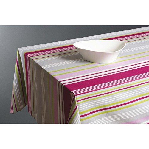 Nappe rectangulaire 145 x 240 cm - Coton enduit - Rayures colorées