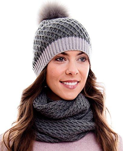 Hilltop Winter Kombi Set, bestehend aus Damen Schal und passender Strick Mütze. Bommelmütze mit Pompon in aktuellen Farbkombinationen, Winter Set:4D-grau