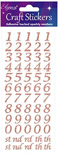 tilisierte Anzahl Glitter Craft Aufkleber-Rose Gold Selbstklebende Zahlen ()