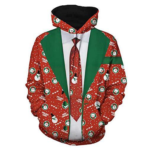 (Longzjhd MäNner Lustig Weihnachten 3D Drucken Mit Kapuze Lange ÄRmel Tasche Pullover Drucken Hässlich Hemd Weihnachtspullover Sweatshirt Christmas Xmas Schneeflocken Sweater)