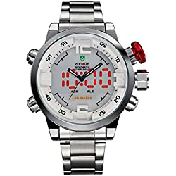 Alienwork DualTime LED Analogue-Digital Watch XXL Oversized Wristwatch Multi-function Stainless Steel white silver OS.WH-2309-2