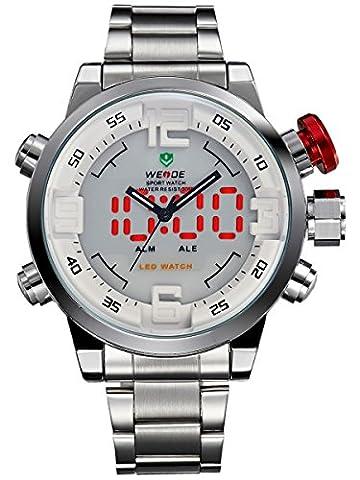 Alienwork DualTime LED Analog-Digital Armbanduhr XXL Oversized Uhr Herren Uhren Multi-funktion Edelstahl weiss silber OS.WH-2309-2