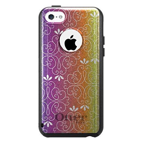 DistinctInk Fall für iPhone 5C Otterbox Commuter Gewohnheits-Fall Blau, Lila, Orange Gelb Rosa Steigung auf-Schwarz-Fall (5c Fällen Otter Box Blau)