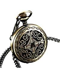 ESS Caja Acero Inoxidable Reloj Bolsillo Mecánico Bronce ESS Negro Cuerda Más