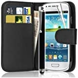 Mega.Deals4U® - PU Leather Flip Card Wallet Case For SAMSUNG GALAXY ACE 3 III GT S7270 S7272 S7275 INCLUDING STYLUS PEN + SCREEN PROTECTOR + CLEANING CLOTH (Black)