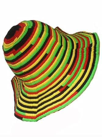 chapeau bob rasta noir jaune vert rouge