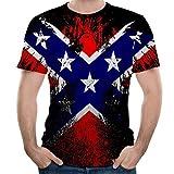 Xmiral t Shirt Uomo Divertenti Maglietta da Uomo Maniche Corte Sportivo per Bodybuilding a Palestra Bandiera Stampata XXL Rosso