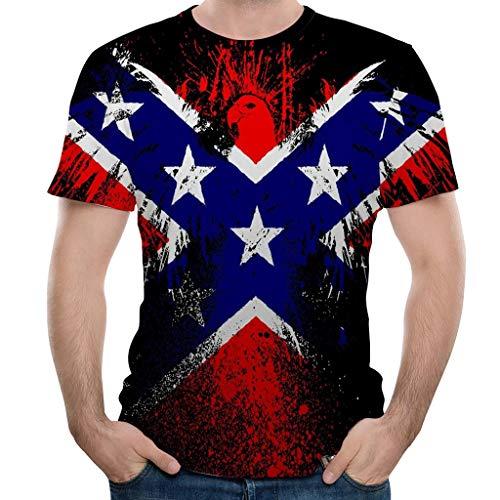 DEELIN Herren Shirts,Frashing Männer American Stars Flag Kurzarm-Print Tank Top Shirt Sommer T-Shirt Amerikanisch Flagge Kurze Ärmel Bluse Shirt Top Casual Rundhalsschnitt Übergroß