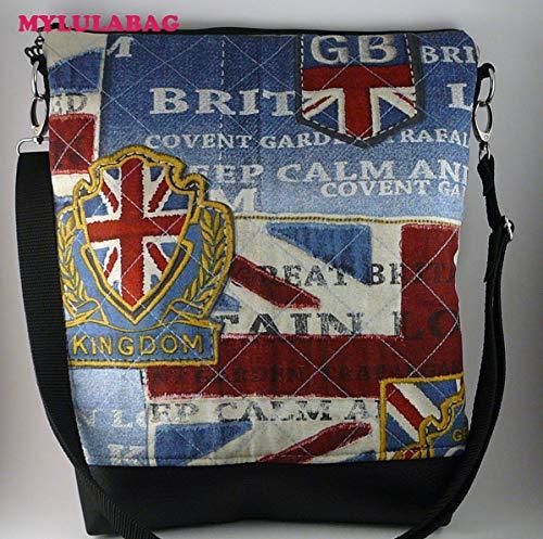Schultertasche Umhängetasche A4 England London Kunstleder weinrot gesteppt brit style - UNITED KINGDOM- -