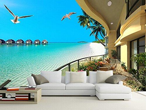 Xcmb Benutzerdefinierte 3D Wandbild 3D Meer Strand Relax Resort Wandbild Schlafzimmer Wohnzimmer Hotel Restaurant Kaffee Haus Tapete Wandbild-120Cmx100Cm -