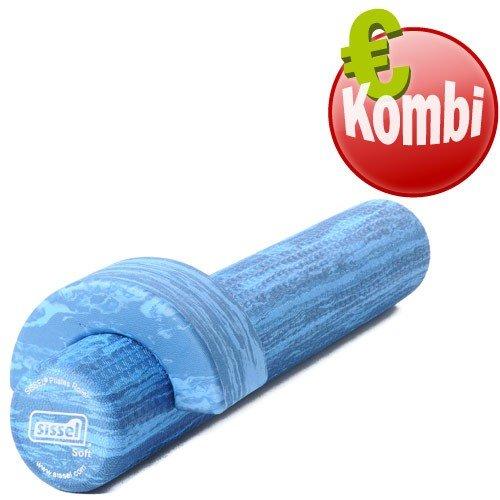 SISSEL Pilates Rolle Soft + Head Align Foam Roller Gymnastik Ø15x90cm blau