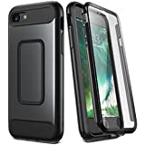 iPhone 8 Case, iPhone 7 Case, YOUMAKER Full Body Rugged with Built-in Screen Protector Heavy Duty Protection Shockproof Slim Fit Case Cover for New Apple iPhone 8 4.7 inch (2017) - Black