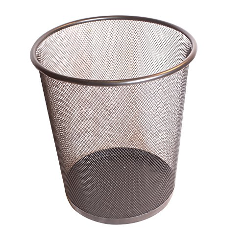 Contemporary Black Metal Mesh Desk Waste Paper Bin h28cm -