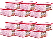 Amazon Brand - Solimo 12 Piece Non Woven Fabric Saree Cover Set with Transparent Window, Large, Flora Pink